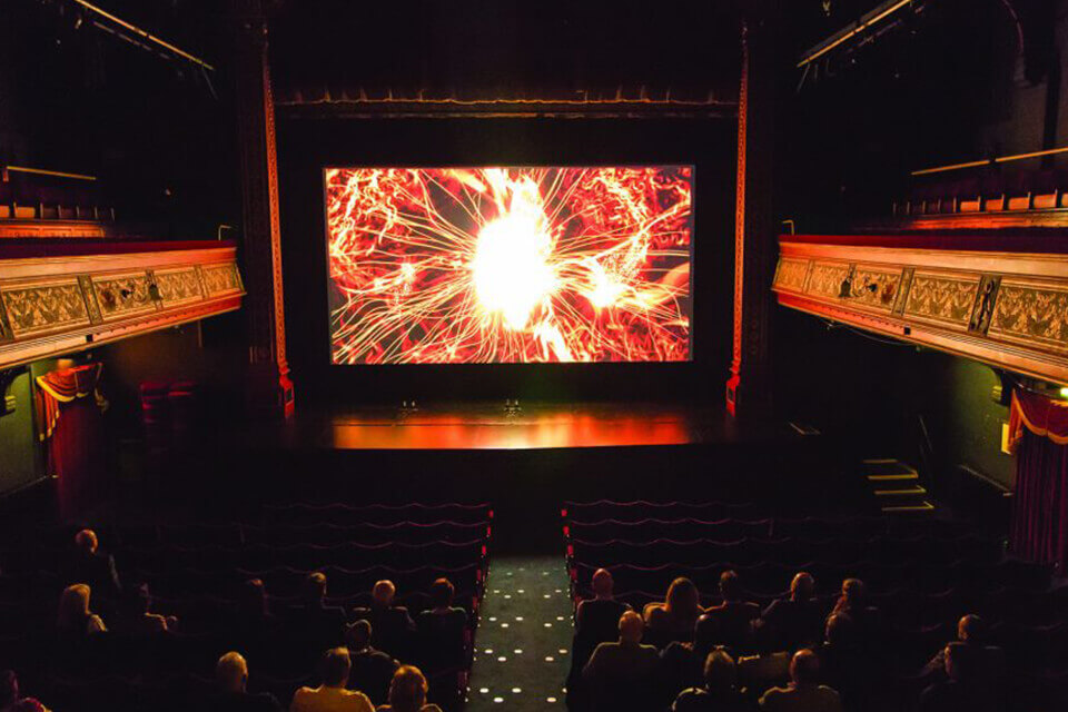 a view of a stage, using theatre control systems